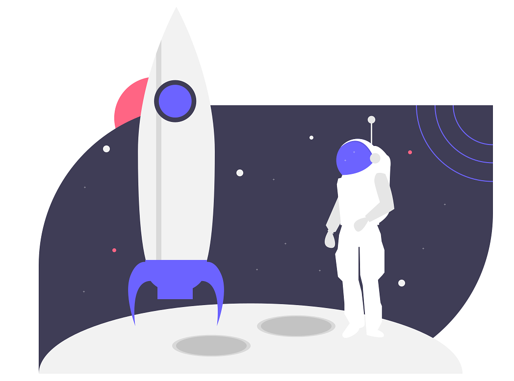 The feeling of launching a new product feature (astronaut and rocket)