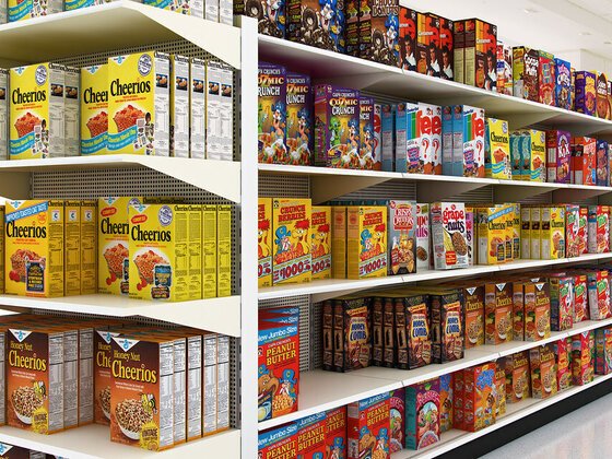 Cereal boxes in the store